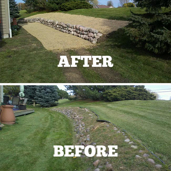 retaining wall before after